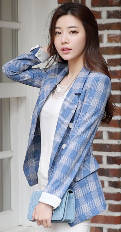 StyleOnme_Check Print Double-Breasted Tailored Jacket #check #tailored #jacket #blue #koreanfashion #kstyle #kfashion #springtrend #dailylook