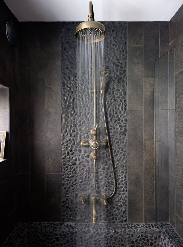 It's back to black with this bold shower room in London. Brassware, Samuel Heath, 0121 766 4200, samuel-heath.co.uk. Mosaics, Dune, 01455 610202, dune.es. Charlotte Conway Design, 0121 439 2302, charlotteconwaydesign.co.uk.Homes & Gardens Dream Bathrooms Supplement, October 2014.