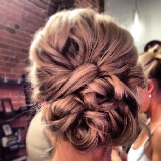The bride wants the maids to have updos with curls...Bridesmaid side updo by Julie Meacham