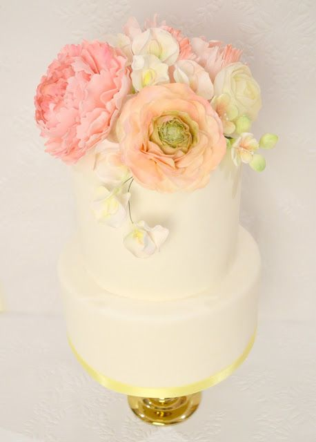 Cherie Kelly's Sugar Peony, Ranunculus and Rose Pastel Colour Wedding Cake