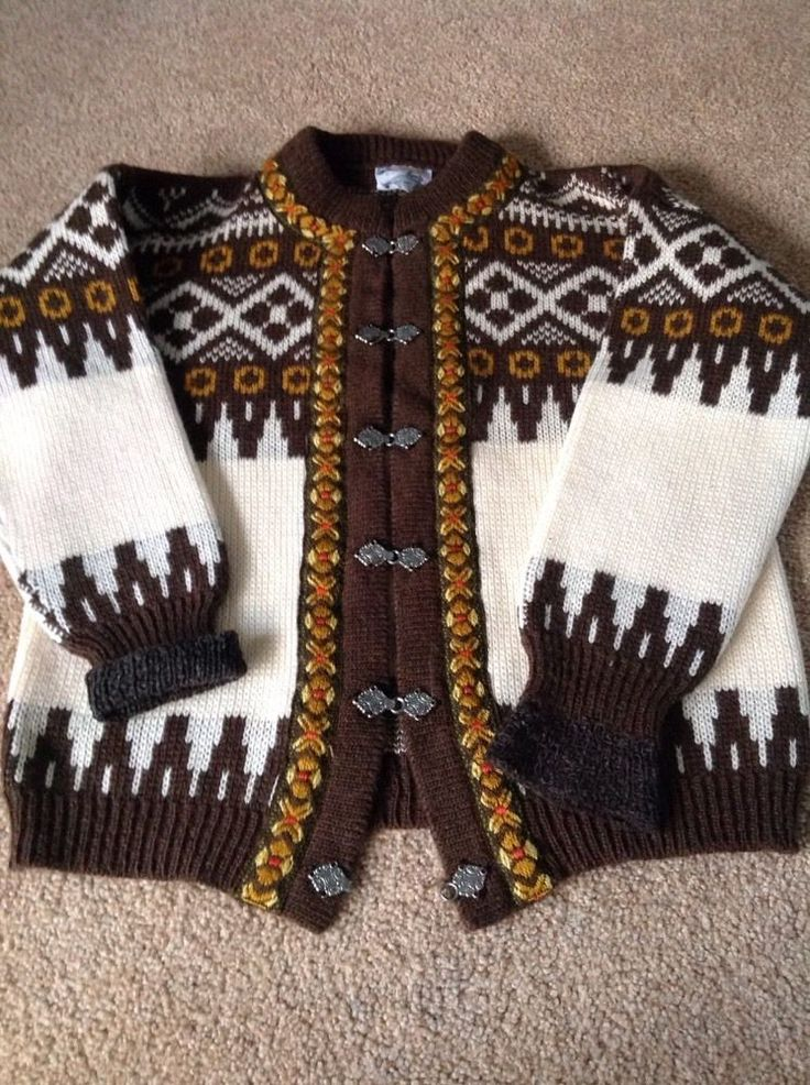 NORWEDIAN FAIRISLE CARDIGAN FOLK TRIM SIZE 38 CHEST IN WOOL #Gannsporty