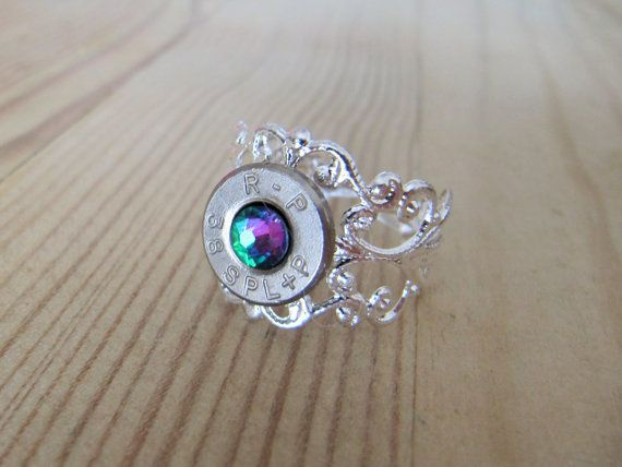 38 Special Bullet Ring with Rainbow Swarovski by JillsJewels4You, $9.95