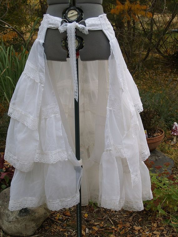 Steampunk Skirt   Bustle Skirt Steampunk Victorian Wrap White by meankittywear