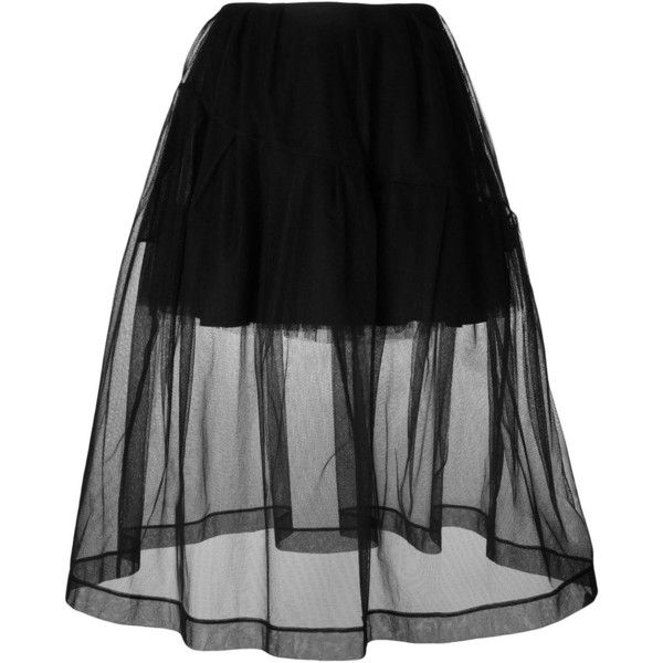 Simone Rocha A-Line Skirt ($785) ❤ liked on Polyvore featuring skirts, bottoms, faldas, black, a line skirt, a line midi skirt, mid-calf skirt, midi skirt and knee length a line skirt