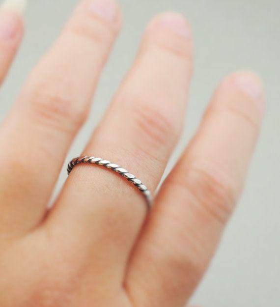 Oxidized Sterling Silver Ring Flat Twist Ring thin by bluebirdss
