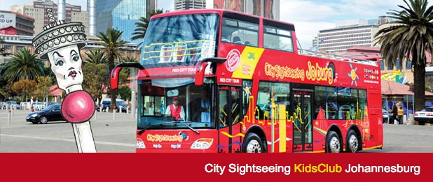 Thandi the Tower - welcomes   you on board!  With your own kids channel to listen to and free activity book, you will have so much fun on Johannesburg's much loved red Bus! City Sighseeing is proudly Carbon Neutral and we care about the future of our planet.  http://www.citysightseeing.co.za/kidsJHB.php