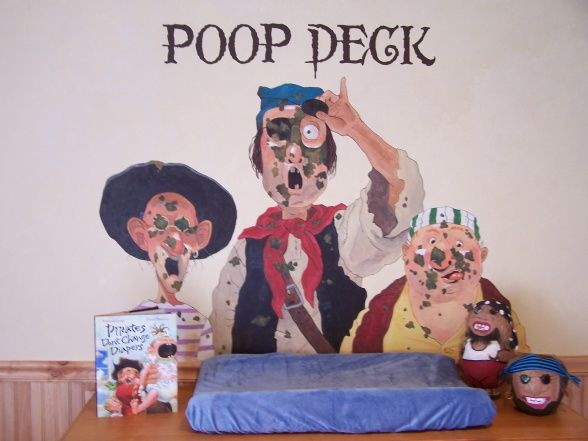 "This is one of my favorite ideas i've run across thus far, of course the changing table will become a ""poop deck"""