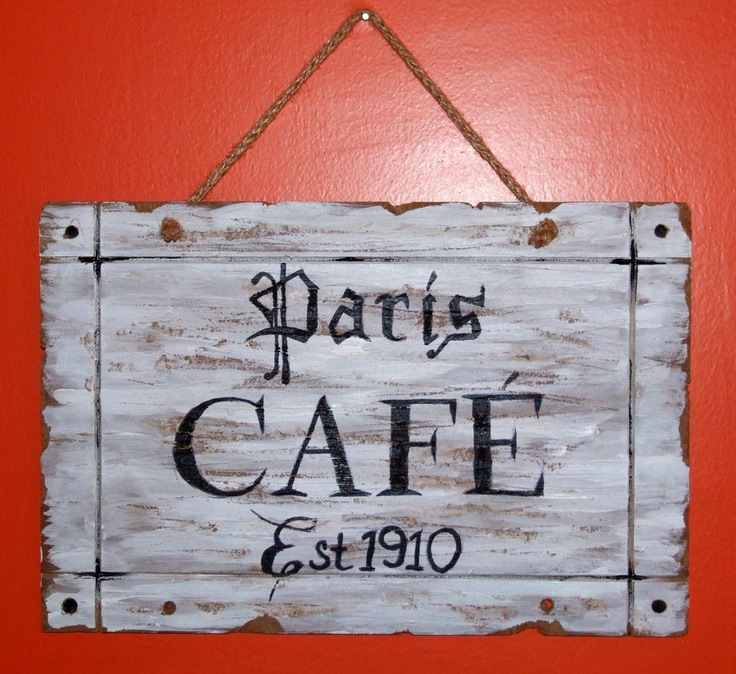 Paris Café Shabby Cottage sign, by JV Handmade, 18,00 € su misshobby.com