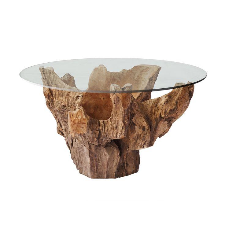 Descrição:Mesa de centro Tailandesa da Raiz da madeira Teakwood com tampo de vidro. Medida:70 L x 60 P x 45 H. Código:MSC 4029