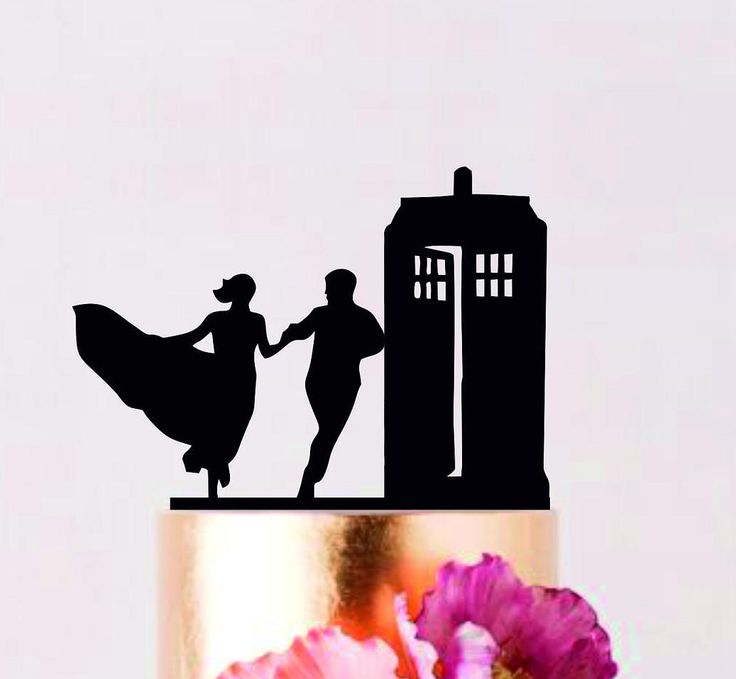Running to the Police Call Box Wedding Cake Topper, Police Call Box Cake Topper, Fairy Tail Topper, Couple topper by AllForWeddingStudio on Etsy