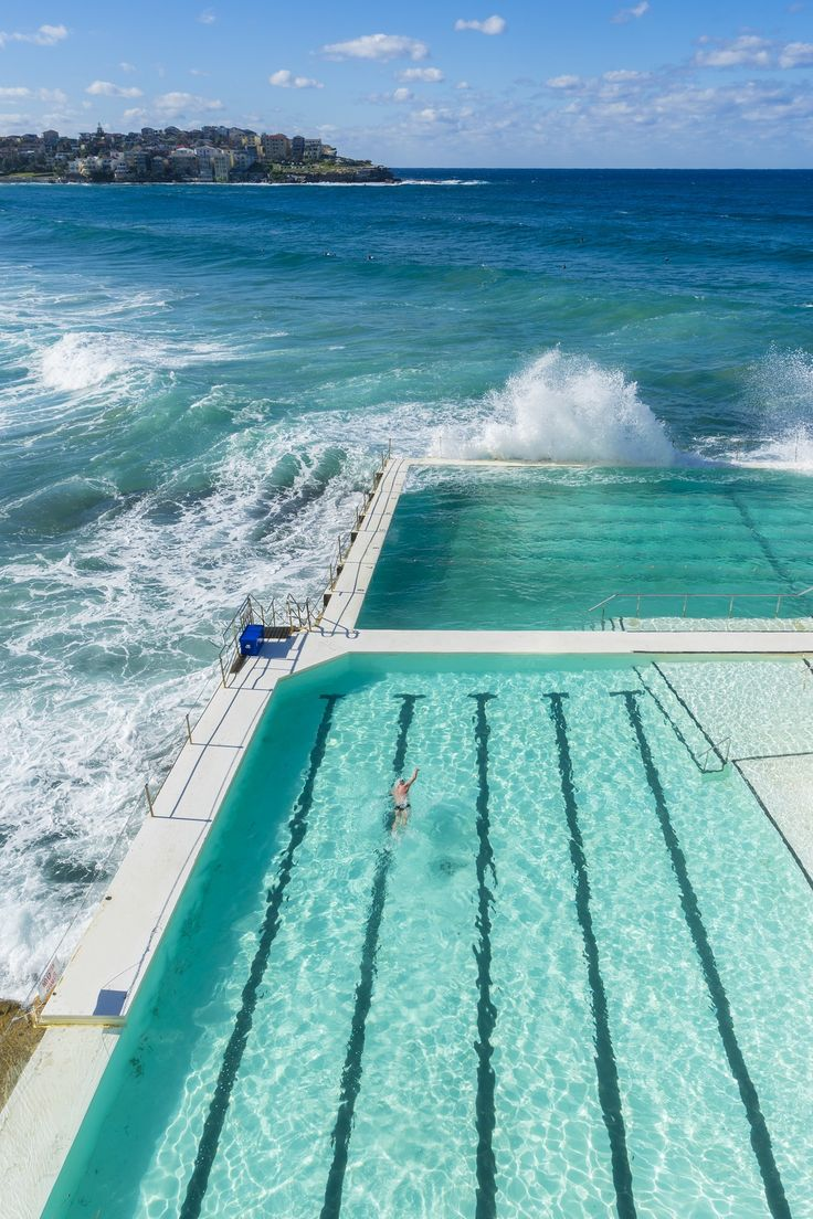 Bondi Beach, Australia's most famous beach is a curving golden stretch of pale gold sand and turquoise waves.