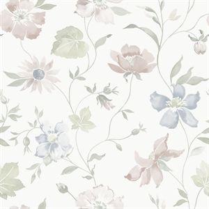 Här möter det dämpade skandinaviska färgstark art déco. Det är två konstarter som faktiskt inte är så vitt skilda. På 1920-talet växte till och med en nordisk variant på art déco fram, som engelsmännen döpte till Swedish grace. Och just den här dekorativt småmönstrade tapeten med pärlemoreffekt är en av våra allra mest eleganta.