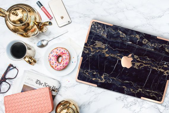 Black & Bronze Marble with Gold Accents Hybrid Hard Case for Apple Macbook Air , Mac Pro Retina, New Macbook 12""