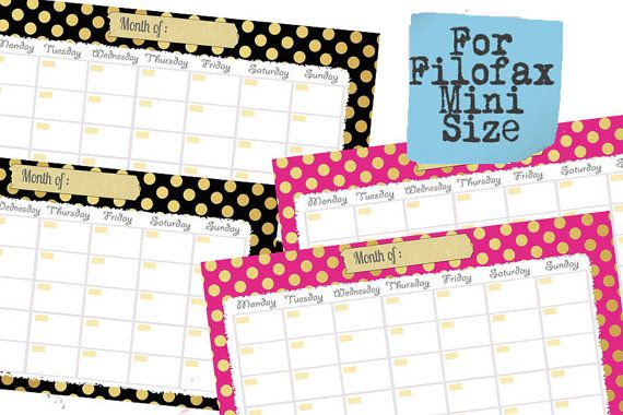 Filofax mini Printable Calendar planncalendar , PDF, cute design ,Monthly calendar, Instant Download!er,gold themed, perpetual