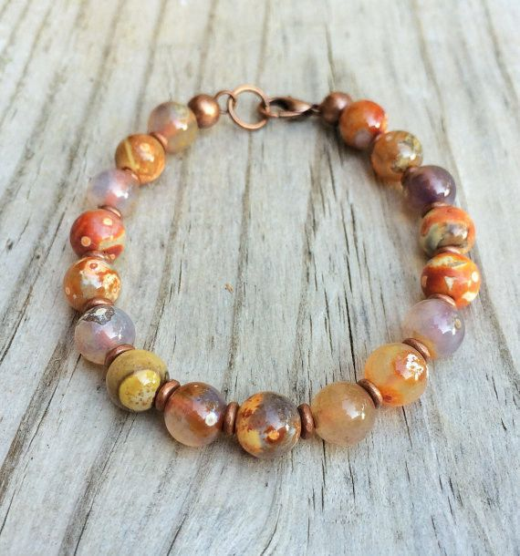 Colorful Agate Boho Bracelet, Natural Stone Jewelry with Copper – Rustica Jewelry