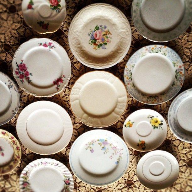 Mismatched Vintage Wedding Plates For Sale.