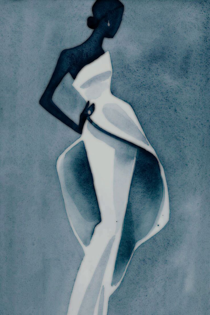 Mats Gustafson fashion illustration altered to Dark to White color palette