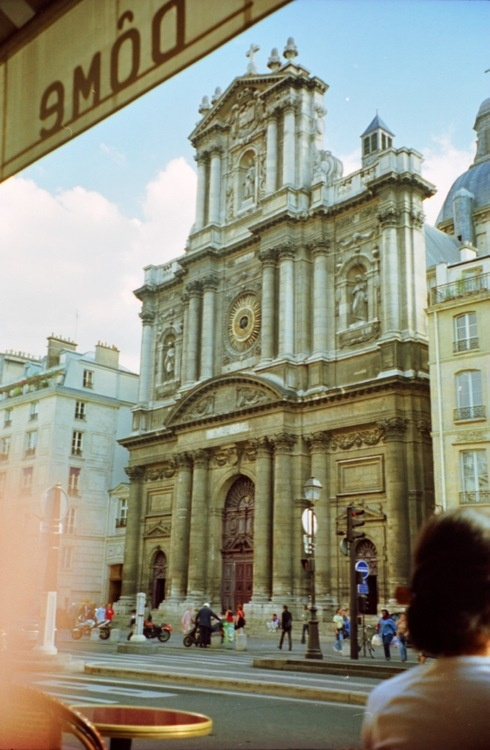 View of the Eglise Saint-Paul-Saint-Louis from the now-closed Le Dome in Le Marais, Paris. Shot with a Nikon FM2 and Agfa Ultra 100