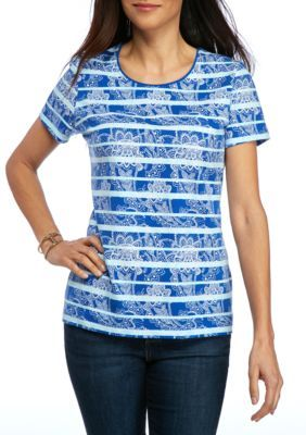 Kim Rogers Ollie Blue Petite Size Short Sleeve Scoop Neck Top