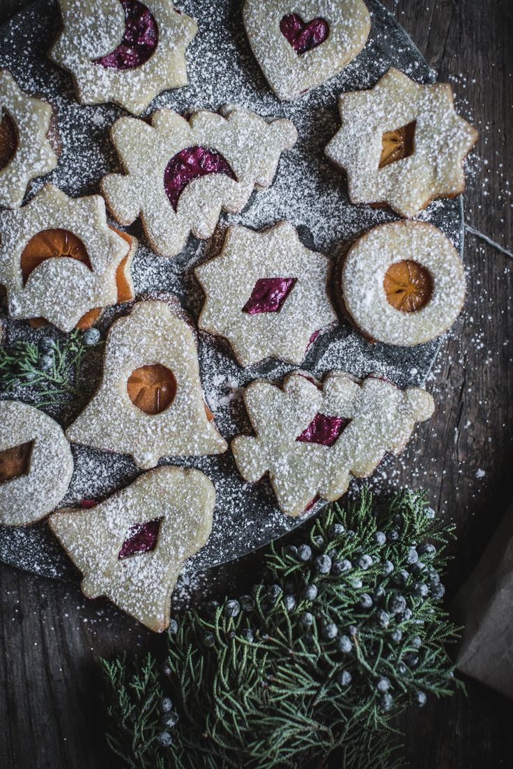 Linzer Cookies with Cranberry Mascarpone + Cinnamon Persimmon Filling
