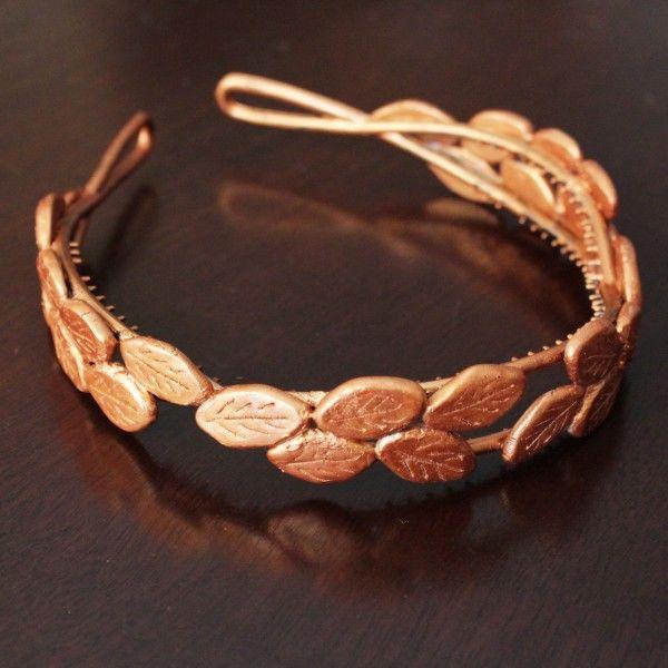 #How-to: Olympics-Inspired Bronze Laurel Headband | HandsOccupied.com#Headband http://www.handsoccupied.com/2012/07/how-to-olympics-inspired-bronze-laurel-headband/