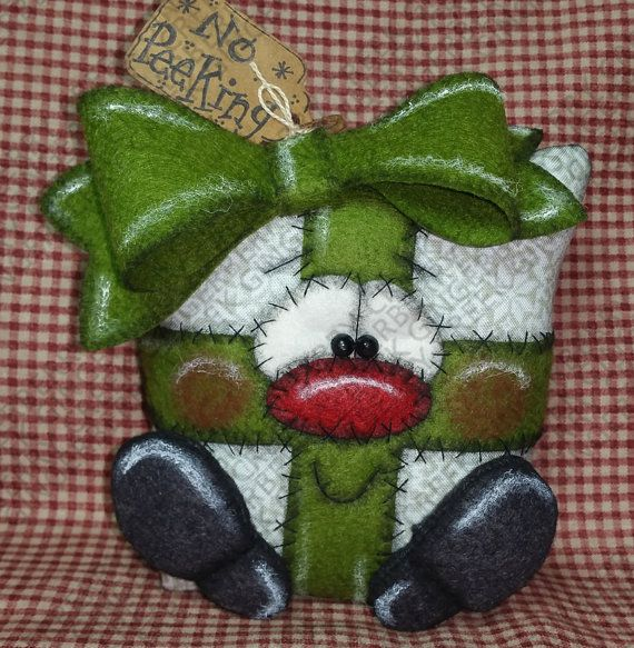 No Peeking Present - Finished Handmade Primitve Doll - OOAK