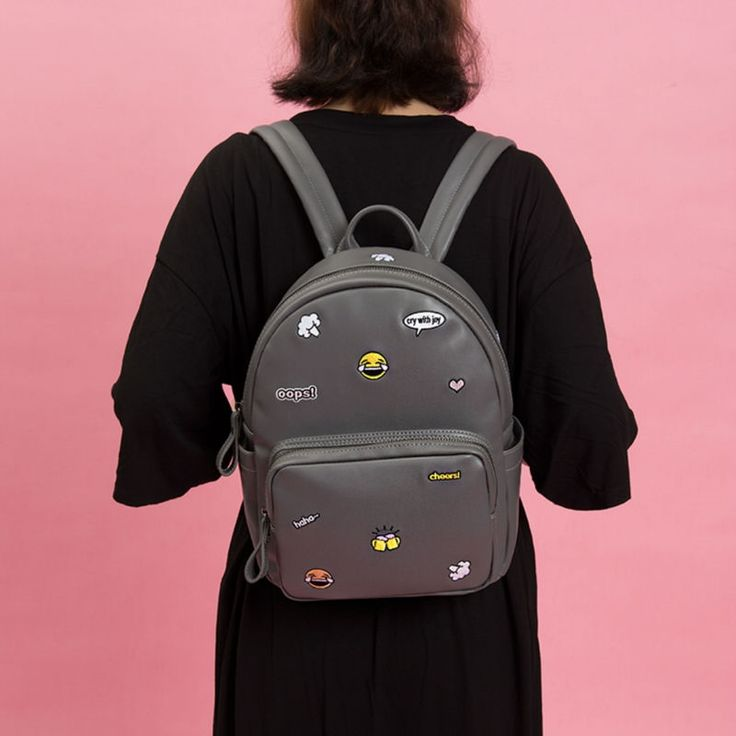 31.72$  Watch now - http://aifog.worlditems.win/all/product.php?id=32801583277 - Kiitos Life PU leather grey embroidery backpacks in ICON series(FUN KIK store)