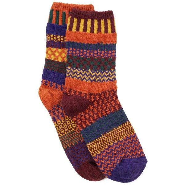 FALL FOLIAGE MISMATCHED SOCKS | Solmate Socks, Orange, Brown |... (11.400 CLP) ❤ liked on Polyvore featuring intimates, hosiery, socks, accessories, socks/tights, shoes, brown socks, solmate socks, orange socks and browning hosiery