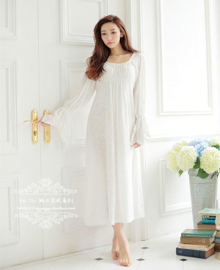 Бесплатная Доставка 100% Хлопок Prinsty Ночной Рубашке женская Ночная Рубашка С Длинным Белый Вышивка Пижамы ночной…