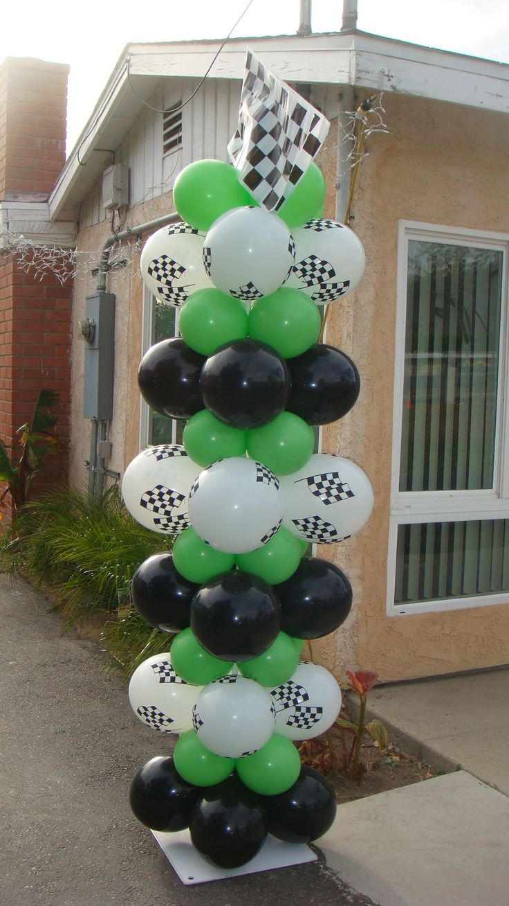Motocross themed birthday party - green black white balloon tower