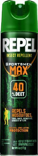 Repel 33801 6-1/2-Ounce Sportsmen Max Formula Insect Repellent Aerosol 40-Percent Deet Spray, Case Pack Of 12, 2015 Amazon Top Rated Sprayers #Lawn&Patio