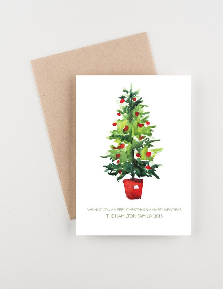 Watercolor Christmas Tree, Holiday 2015 Christmas and New Years Greetings Card by seahorsebendpress on Etsy