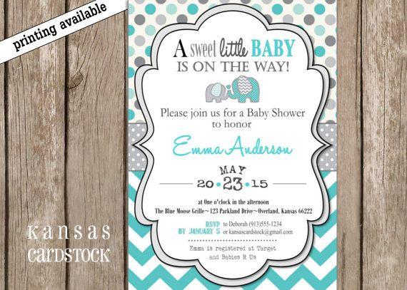 Baby Shower Invitation Elephant gray aqua by KansasCardstock