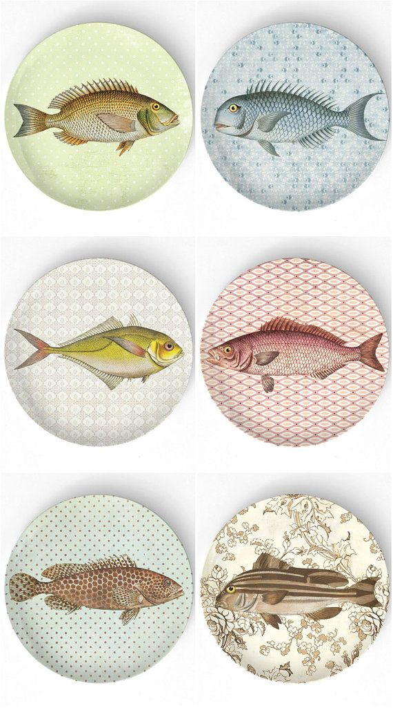 Sea Life Fish I melamine plate by TheMadPlatters on Etsy