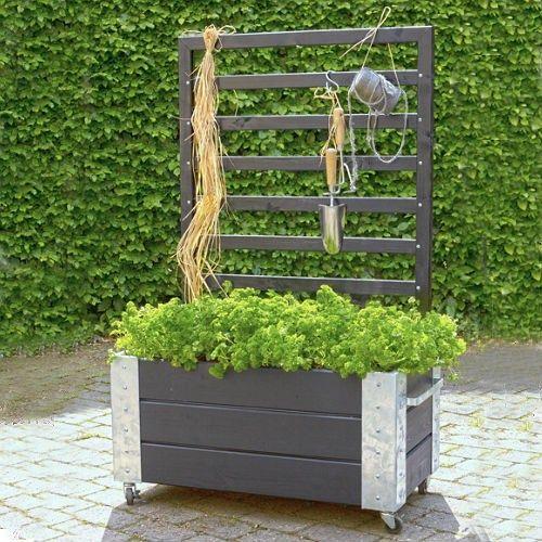 Blomlåda PLUS Cubic med Spalje Svart 87x50x130 cm - Balkong & Uteplats
