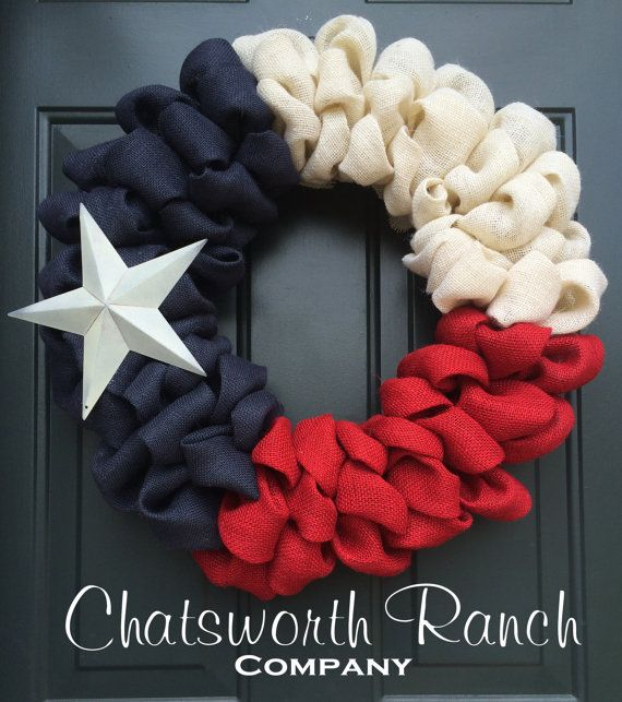 Texas State Flag Burlap Door Wreath Texan Flag Wreath- American Flag Red White Blue Rustic Army Navy Air Force Marines Military 4th of July