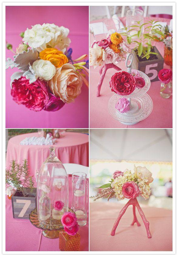 Eclectic Center Pieces: Pink Wedding, Quince Centerpieces, Beautiful Wedding Love, Garden Theme Wedding 23, Pink Centerpieces, Big Colorful, Fun Garden Theme Wedding, Garden Weddings