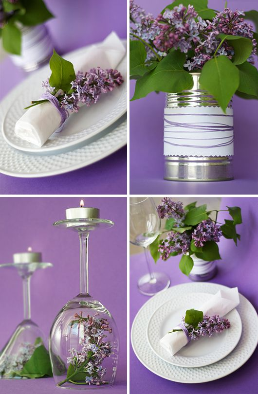 Pretty lilac table decoration. I'd use different flowers. I like the idea with the napkin.