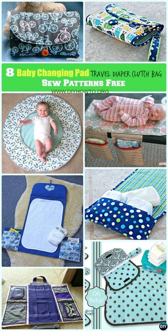 DIY Baby Changing Pad Travel Diaper Clutch Bag Sew Pattern Free: Portable Baby Travel Changing Pad / Mat with Diaper Bag Storage All-in-One Instructions