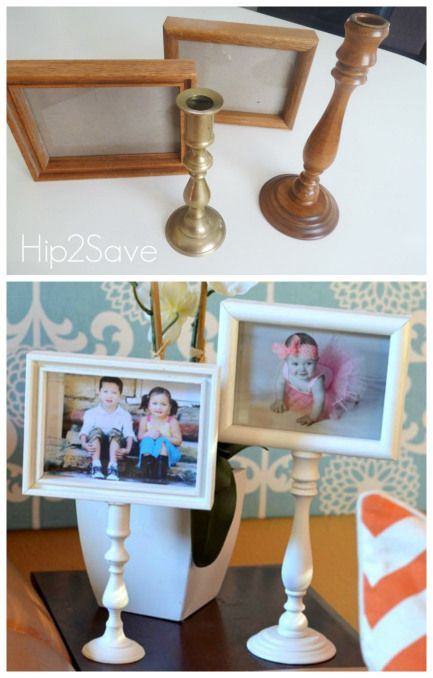 Photo frames on candlesticks.  Put on top of piano??