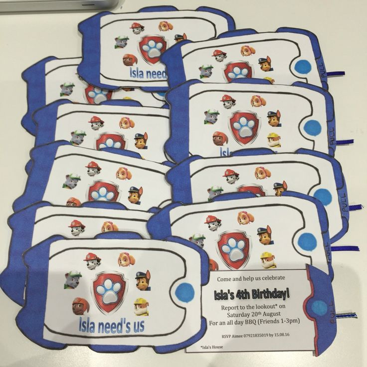 Paw Patrol party invitations by CadoganCrafts on Etsy