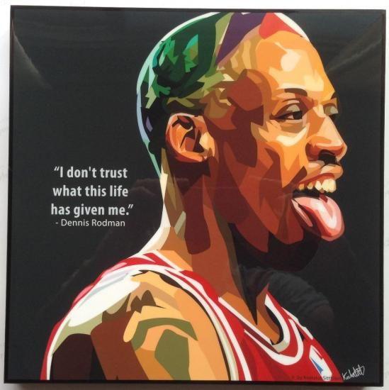 デニス・ロッドマン NBAグラフィックアートパネル 木製ポスター