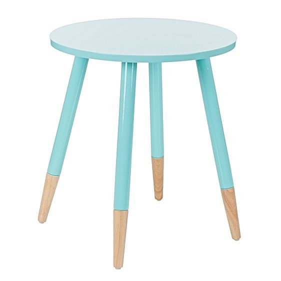 Harley aqua round side table. A pop of color in the living room.