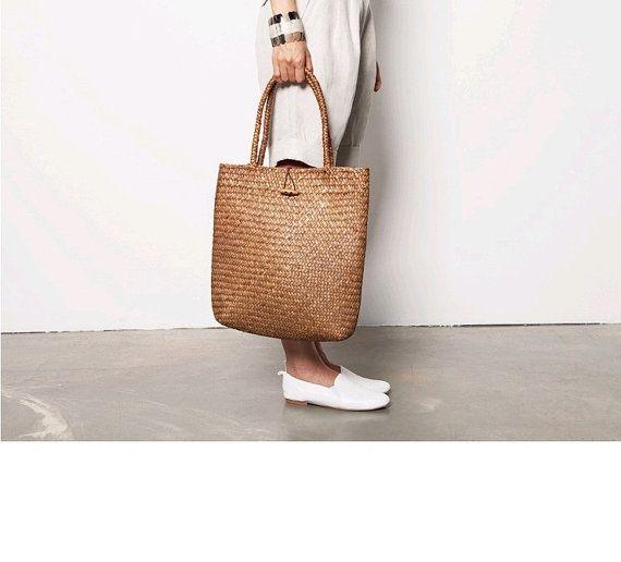 Straw Bag, Handmade Woven Tote Women Travel Handbags Designer Vintage Shopping Hand Bags