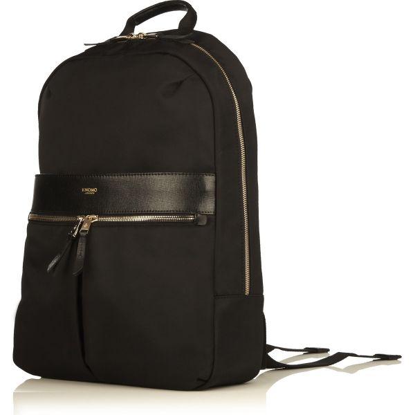 "Beauchamp Laptop Backpack from KNOMO: Official Store | Women's Black 14"" Laptop Bag | Sleek Nylon Black Backpack | Laptop Bags| Weekender Bag | Designed by KNOMO London"