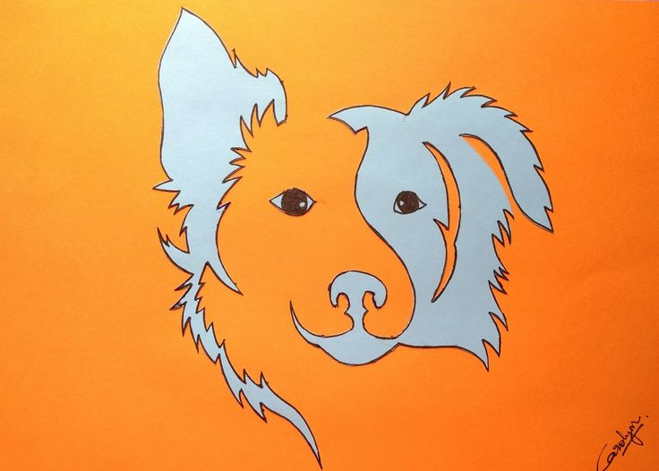 Paper cutting. Dog. Collie. Lassie