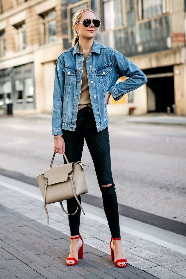 outfit post white blouse, black skinny jeans, jean jacket