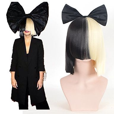 Halloween+Party+Online+SIA+Alive+This+Is+Acting+Half+Black+&+Blonde+Short+Wig+with+Bowknot+Accessory+Costume+Cosplay+Wig+–+USD+$+18.89