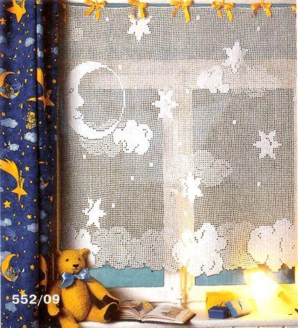 Häkeln & Filethäkeln Gardine Mond /  crochet curtain - Cortinas de croche