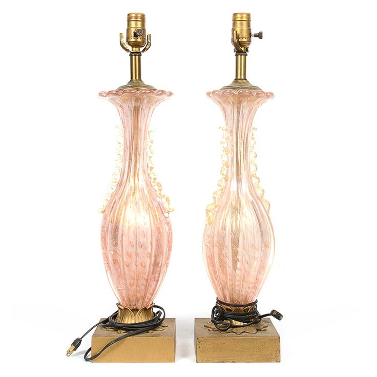 Vintage Murano Style Pink Blown Glass Table Lamps